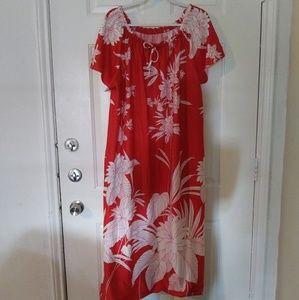 80s Hawaiian off shoulder mumu patio dress!! L/XL